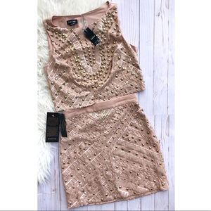 NWT Bebe studded two piece dress set size 4